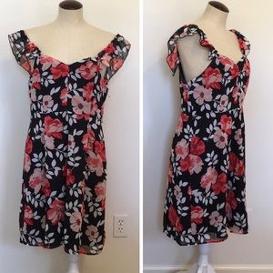 Forever 21 Contemporary Blk/Coral Floral  Dress XL
